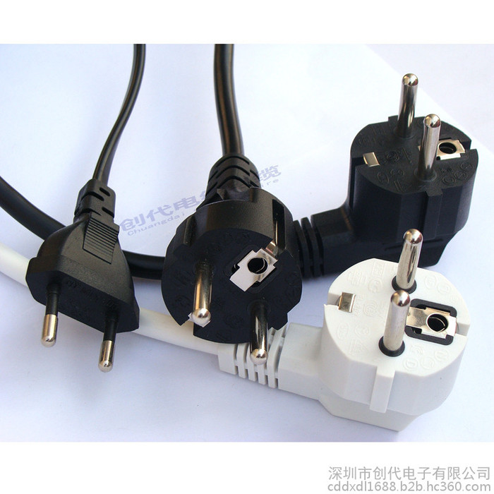 CE  VDE欧规/欧洲电源线 两圆插欧标三插 品尾 梅花尾 欧式插头线 欧规电源线